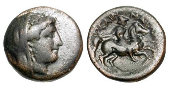 Ancient Coins - THESSALY. Pelinna, 306-197 BC.  Æ18 (5.02 gm).   Veiled head of Mantho  / Mounted lancer charging.  Rogers.432.  VF, dark brown patina, high relief.  Rare and choice.