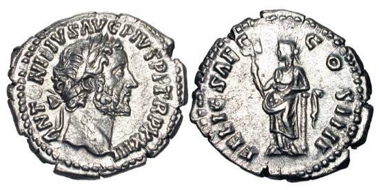 Ancient Coins - ANTONINUS PIUS, 138-161 AD.  AR Denarius (3.19 gm),159-60.  Laureate head / Felicitas standing, leaning on column, holding caduceus.  RIC.298.  Near Mint.