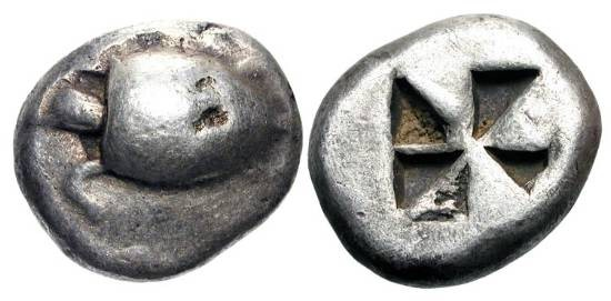 "Ancient Coins - AEGINA.  510-490 BC.  AR Stater (12.09 gm).  Smooth-shelled turtle / Incuse square of ""Union Jack"" pattern.  SNG.Del.1513.  Toned Fine+.  Full head and beak."