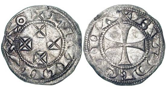 World Coins - FRANCE, Aquitaine.  William X, 1086-1127-1137 AD.   AR Denier (0.78 gm) of Bordeaux.  Four crosses / Cross.  Rob.4311.  B.464.   Toned aXF.  Choice.