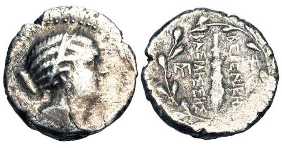 Ancient Coins - PTOLEMAIC KINGDOM.  Berenike I or II.  III Century BC.  AR Didrachm (5.67 gm) of Cyrene(?).  Diademed and draped bust of Berenike / Club in wreath.  Sv.318.  SNG.Cop.429.  …