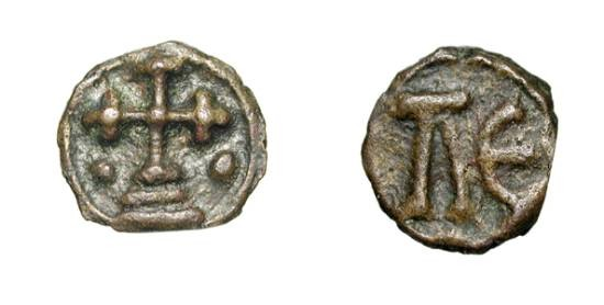 Ancient Coins - BYZANTINE EMPIRE.  Leo VI the Wise, 886-912 AD.  Æ 17 (2.72 gm) of Cherson.  L E / Cross floreate on steps, two pellets in field.  S.1731.  VF+, brown-green patina.