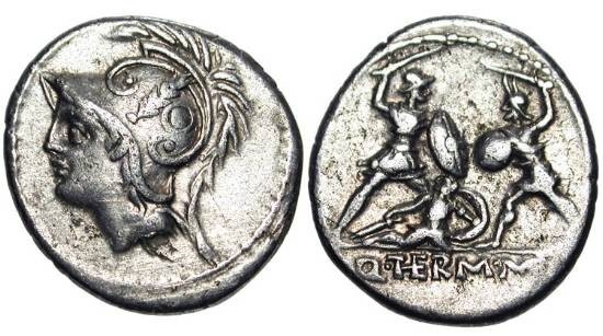 Ancient Coins - ROMAN REPUBLIC.  Q. Thermus M. f., 103 BC.  AR Denarius.  Helmeted head of Mars / Two warriors fighting, the one on the left protects fallen comrade.  Minucia.19.  Cr.319.