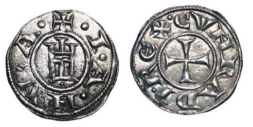 World Coins - ITALY, Genoa.  Republic, XII-XIV Century AD.  AR Grosso da 4 Denari (1.29 gm) ca.1230 AD.  Genoese gate / Cross.  Biaggi.837.  Toned VF+.  Scarce.
