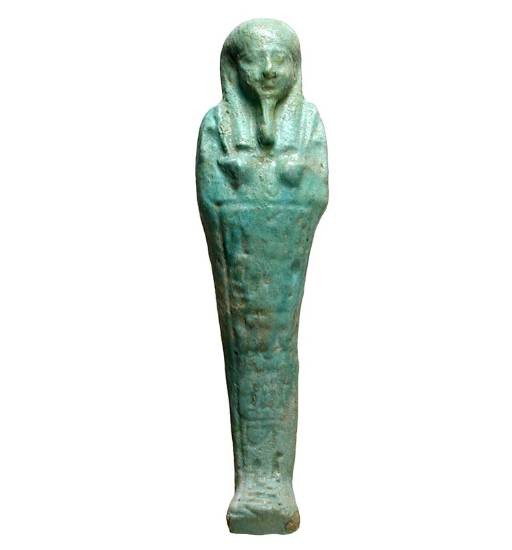 "Ancient Coins - Faience Ushabti.  Egypt, XXVI Dynasty, 664-525 BC.  Well execuited mumified Osiris holding crook and flail.  Heroglyphs   6"" tall, beautiful blue-green color."