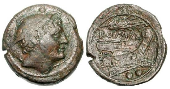 Ancient Coins - ROMAN REPUBLIC.  Sicily, 214-212 BC.  Æ Sextans (14.99 gm).  Head of Mercury / Prow right, whaet ear above.  Cr.42/3.  VF, green brown patina.