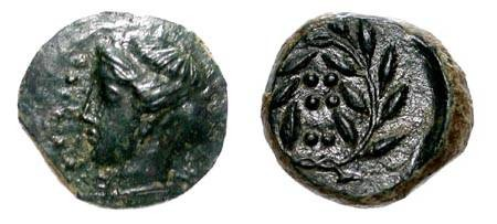 Ancient Coins - SICILY.  Himera.  Before 407 BC. Æ Onkia (3.33 gm).  Head of Nymph wearing sphendone / Six pellets in laurel wreath.  Calciatti.35.  XF,  dark green patina.