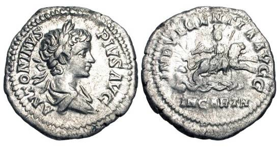 Ancient Coins - CARACALLA, 198-217 AD.  AR Denarius (3.34 gm), Rome, 201-206.  Laureate and draped older boy's bust / The Dea Caelestis, holding thunderbolt and sceptre, riding lion over spring …