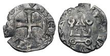 World Coins - SPAIN, Navarre.  Charles II, the Bad, 1349-1387 AD.  Billon Dinero/Denier Tournois Noir, after 1354, black money issue.  Cross / Castle Tournois.  Cay.2195.  Dup.48(Evreux).  É