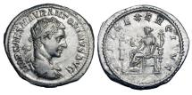 Ancient Coins - ELAGABALUS, 218-222 AD.  AR Antoninianus (4.76 gm), 218.  Radiate draped bust / Fides seated holding eagle and standard, second6 standard in field.  RIC.70.  Toned aXF.   Scarce.