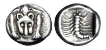 CARIA, Mylasa.  450-400 BC.  AR Hemiobol.  Rare and Choice.