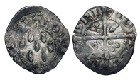 World Coins - FRANCE, Brittany.  Jean IV de Montfort, 1345-1399 AD.  AR Demi-gros (1.66 gm) as Count of Richemot.  Cross / Seven ermine tails.   Jéz.240d1.  Toned VF.  Rare.10740841