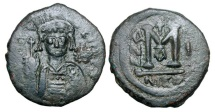 Ancient Coins - BYZANTINE EMPIRE.  Maurice Tiberius, 582-602 AD.  Æ Follis …