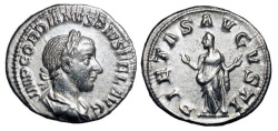 Ancient Coins - GORDIAN III, 238-244 AD.  AR Denarius (3.05 gm) 241 AD.  Lauriate draped and cuirassed bust / Pietas veiled, standing with outstretched arms.  RSC.186.   RIC.129(R).  aXF.  Rare.