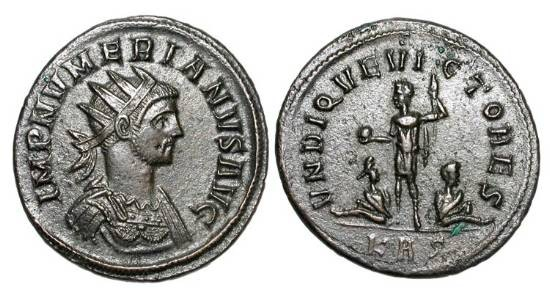 Ancient Coins - NUMERIAN, 282-284 AD.    Æ Antoninianus of Rome.  Radiate cuirassed bust / Emperor standing, holding globe and sceptre, two captives at feet.  RIC.423.  XF, brown patina.