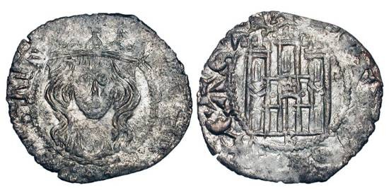 World Coins - SPAIN,  Castile.  Pedro I, el Cruel, 1350-1369 AD.  AR Cornado (0.73 gm) of Burgos.  Crowned bust / Castle. FAB.396.  Toned aXF.  Scarce and Choice.