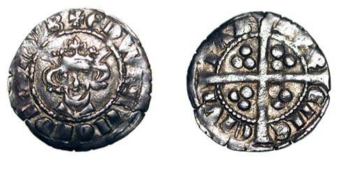 World Coins - ENGLAND.  Edward I, 1272-1307 AD.  AR Penny of Durham (1.51 gm) Class 9b1.  Crowned bust with star on breast / Long cross.  S.1421.   Toned VF+.  ex. Wallace