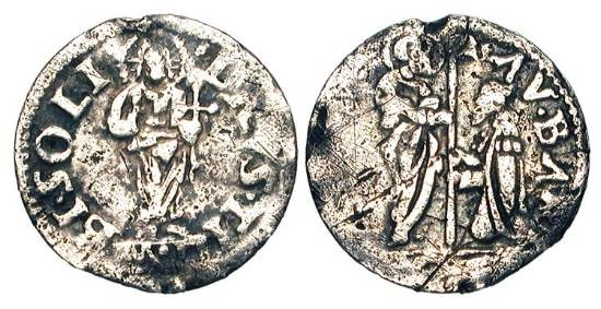 World Coins - ITALY, Venice.  Agostino Barbarigo, 1486-1501 AD.  AR Soldino (0.28 gm).  Saint Mark standing confronting kneeling doge, both holding banner-staff / Christ standing facing.  Paol.5