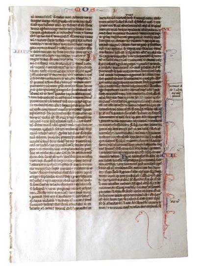 """World Coins - Vellum Bible Page.  France, XIII Century AD.  Latin in two columns on both sides;  red """"a""""  and blue """"h"""" capitals with red and blue borders.  4x6"""".  Text: Amos, (5 part) and 6 - 8"""