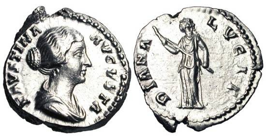 Ancient Coins - FAUSTINA JUNIOR, wife of Marcus Aurelius, d. 175 AD.  AR Denarius (3.48 gm).  Draped bust / Diana standing holding long torch.  RIC.674.  Near Mint.