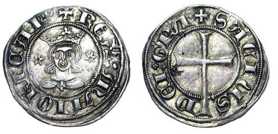 World Coins - SPAIN, Mallorca.  Sancho, 1311-1324 AD.  Billon Dobler (1.74 gm) Palma.  Crowned bust/ Latin cross.  CiS.312var-2.  Toned aXF.