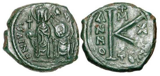 Ancient Coins - BYZANTINE EMPIRE.  Justin II, 565-578 AD.  Æ Half Follis (6.23 gm) of Thessaloniki, year 10.  Justin and Sophia enthroned / Large K.  S.366.  Uneven XF, green patina.