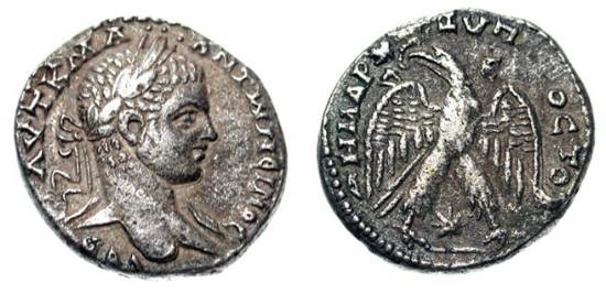 Ancient Coins - SYRIA, Antioch.  Elagabalus, 218-222 AD.  AR Tetradrachm (12.84 gm).  Laureate head / Eagle with wings spread, star between legs.  Prieur.267.  Toned VF.