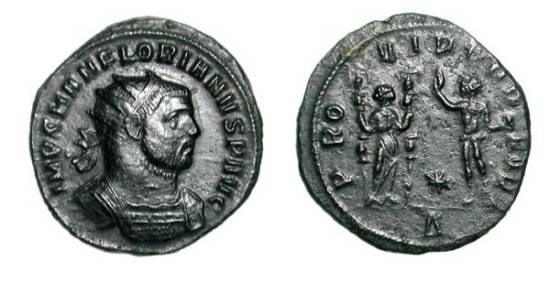 Ancient Coins - FLORIANUS, 276 AD.  Æ Antoninianus of Serdica.  Radiate and cuirassed bust  / Providentia standing ,holding two standards, facing Sol.  RIC.111.  VF+, green black patina.