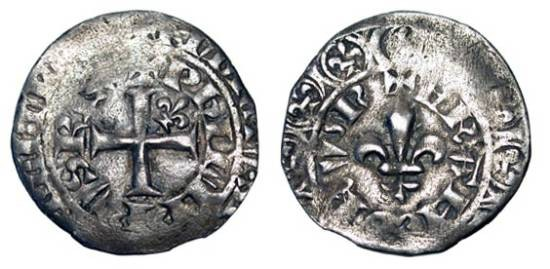 World Coins - FRANCE.  Philippe VI de Valois, 1328-1350 AD.  AR Gros à la fleur de lis (1.90 gm) 1341.  Cross in concentric legends, lis  in one angle / Lis.  DuP.263B1.  Toned  uneven VF.