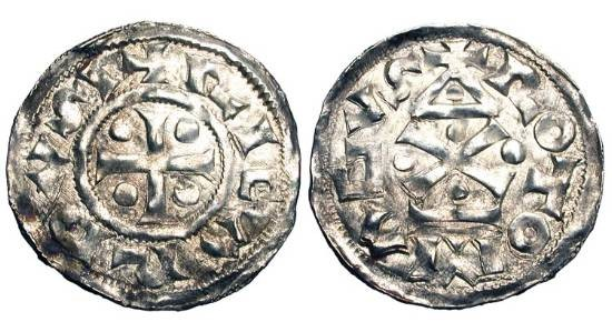 World Coins - FRANCE, Normandy.  Richard I, 943-996 AD. AR Denier of Rouen.  Cross with pellets / Stylized Romanesque temple with X and pellets.  D.16.  LeG.192..  XF.  Ex Fécamp hoard.