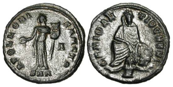 Ancient Coins - ANONYMOUS c. 312 AD,  Time of Maximinus II. Æ Quarter Follis, Antioch mint.  Apollo standing with lyre / Tyche of Antioch seated, Orontes at feet.  Vagi.2954     Scarce.