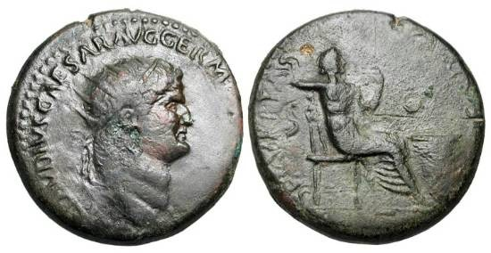 Ancient Coins - NERO, 54-68 AD.  Æ Dupondius (14.27 gm), Rome, 65.  Radiate head / Securitas seated with sceptre.  RIC.193.   Uneven VF, dark brown patina.