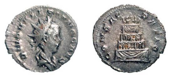 Ancient Coins - VALERIAN II, d. 255 AD.  AR Antoninianus (3.52 gm), posthumous commemorative.  DIVOM VALERIANO CAES, radiate draped bust / Pyre topped by biga.  RIC.28v(S).  Toned VF+.  Scarce.