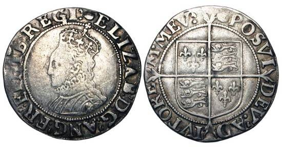 World Coins - ENGLAND.  Elizabeth, 1558-1603 AD.  AR Shilling (5.54 gm), fifth issue, i. m. Tun (1591-5).   Crowned draped bust / Shield of arms on long cross.  N.2014.  S.2577.  Toned aVF.