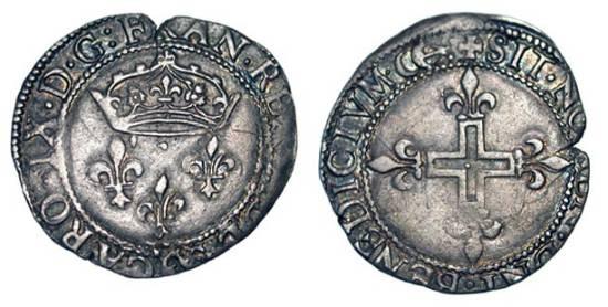 World Coins - FRANCE, Valois.  Charles IX, 1560-1574 AD.  AR Double sol parisis (2.84 gm), Bordeaux, MDLXX.  Three crowned lis  / Croix cléchée fleurdelisée.  DuP.1085.  Toned VF+.