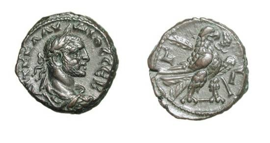 Ancient Coins - ROMAN EGYPT.  Claudius II Gothicus, 268-270 AD. Potin Tetradrachm, yr. 3.  Laureate cuirassed bust / Eagle standing holding wreath and palm.  Köln.3047.  XF, smooth brown patina.
