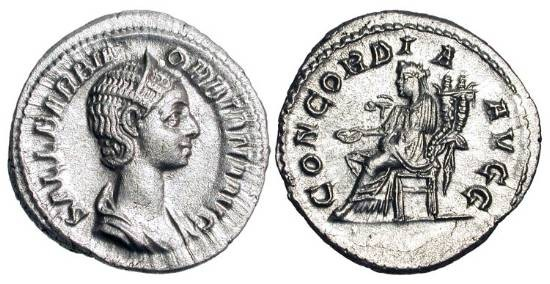 Ancient Coins - ORBIANA, wife of Severus Alexander, 222-235 AD.  AR Denarius (2.88 gm).  Draped bust / Concordia seated holding patera and cornucopiae.  RIC.319.   Toned Near Mint.