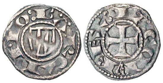 World Coins - SPAIN, Catalunya.  Condado of Barcelona.  Jaime I, 1213-1276 AD.  AR Dinero (0.85 gm) of Barcelona.  Shield of arms for Aragon / Cross.  Crus.304.  Toned VF.  Scarce.