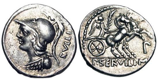 Ancient Coins - ROMAN REPUBLIC.  P. Servilius M.f. Rullus, 100 BC.  AR Denarius (3.90 gm).  Helmeted bust of Minerva / Victory driving biga.  Servilia.14.  Cr.328/1.  Toned VF.