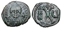 Ancient Coins - BYZANTINE EMPIRE.   Maurice Tiberius, 582-602 AD.  Æ Decanummium …