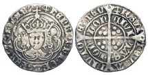 World Coins - ENGLAND.  Henry VII, 1485-1509 AD.  AR Groat (3.02 gm), cl. IIIC of London, i. m. Anchor.  Crowned bust facing in tressure / Long cross with three pellets in each angle.  S.2199.