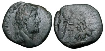 Ancient Coins - COMMODUS, 177-192 AD.  Æ Sestertius, 191.  Laureate head / Commodus sacrificing over tripod, victimarius raising axe to strike bull, flute players before.  RIC.603.  aVF  …