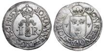 World Coins - SWEDEN.  Johann III, 1568-1592 AD.  Billon Half Öre of Stockholm, 1577.