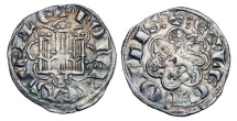 World Coins - SPAIN, Castile & Leon.   Alfonso X, 1252-1284 AD.  Billon Noven (0.80 gm) of Cuenca.  Castle / Lion.  FAB.266.1.  Toned VF+.