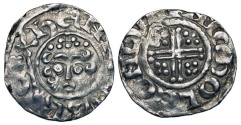 World Coins - ENGLAND.  Henry III, 1216-1272 AD.  AR Penny (1.41 gm) of London, NICHOLE, class 7c.  Crowned bust / Short voided cross with pellets.  S.1356c.  Uneven VF.