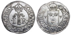World Coins - SWEDEN.  Johann III, 1568-1592 AD.  Billon Half Öre of Stockholm, 1577.