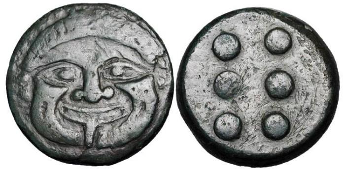 Ancient Coins - SICILY, Himera.  430-420 BC.  Æ Hemilitron (22.83 gm).  Gorgoneion facing / Six pellets.  S.1105.  Calciati.24.  VF+.  Scarce.