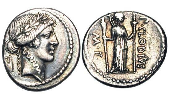 Ancient Coins - ROMAN REPUBLIC.  P. Clodius M.f.Turrinus, 42 BC.  AR Denarius.  Laureate head of Apollo, lyre behind / Diana Lucifera standing holding long torches.  Cr.494/23.   Toned aXF.