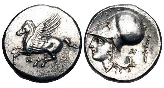Ancient Coins - AKARNANIA, Anaktorion.  320-300/295 BC.  AR Stater (8.47 gm).  Pegasos flying / Helmeted head of Athena, thymiaterion behind.  Pegasi.67.  XF.