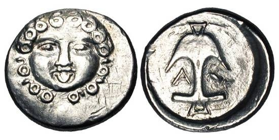 Ancient Coins - THRACE, Apollonia Pontica.  After 450 BC.  AR Reduced Drachm (2.85 gm).  Head of Gorgon facing, tongue protruding / Anchor with crayfish and A at sides.  SNG.BM.161.    aXF.